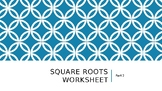 Square root worksheet part 2