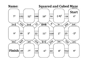 Squared and Cubed Numbers Maze