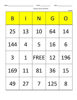 Squares, Cubes, and Roots Bingo