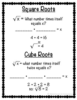 Squares, Cubes, and Roots Cheat Sheets/Reference Sheets