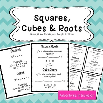Squares Cubes And Roots Cheat Sheetsreference Sheets Tpt