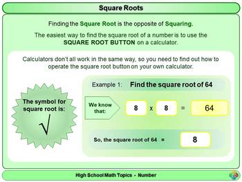 Squares, Cubes and Roots for High School Math