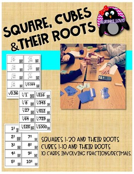 Squares, Cubes and their Roots QR Code Task Cards