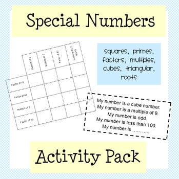 Squares, Primes, Factors, Multiples: Special Numbers Activity Pack