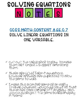 Squares - Solving Equations