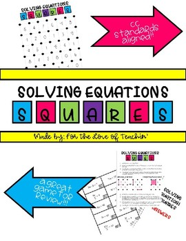 Squares - Solving Equations