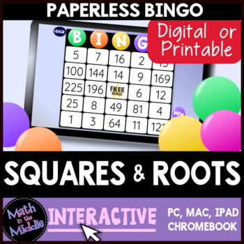 Squares & Square Roots Interactive Bingo Review Game