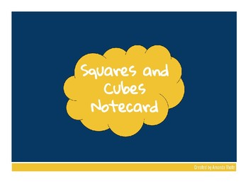 Squares and Cubes Notecard
