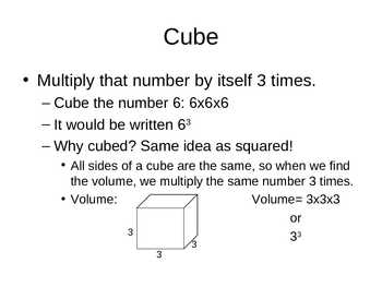 Squares and Cubes; Roots and Cube Roots
