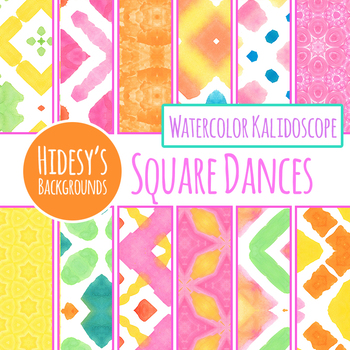 Squares and Diamonds Handpainted Watercolor Digital Papers / Backgrounds