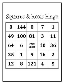 squares and square roots bingo by middle school math man tpt. Black Bedroom Furniture Sets. Home Design Ideas