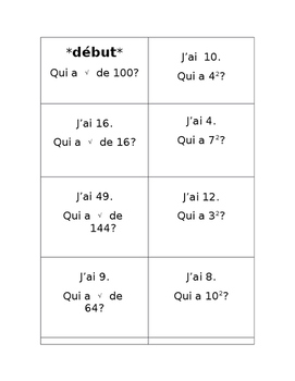 Squares and Square Roots Loop Activity in French