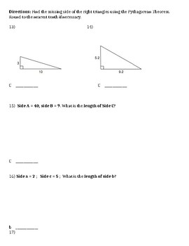 Squares, roots, & Pythagorean Theorem Unit Test