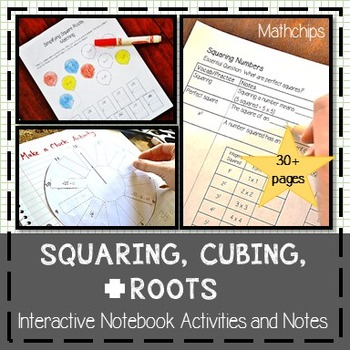 Squaring, Cubing, and Roots Interactive Notebook and Notes