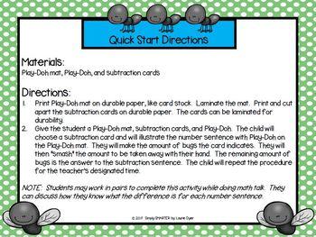 Squash Those Bugs!:  LOW PREP Subtraction Smash It! Play-Doh Activity