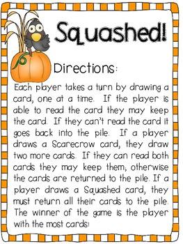 Squashed Sight Word Game FREEBIE!