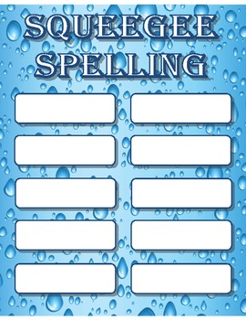 Squeegee Board Spelling File Folder Game