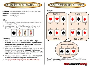 Squeeze the Middle - 2nd Grade Math Game [CCSS 2.NBT.A.4]