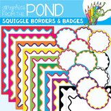 Frames Squiggle Borders and Badges - Clipart Graphics for