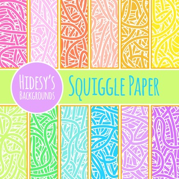 Squiggle Lines Background Papers / Digital Papers / Patter