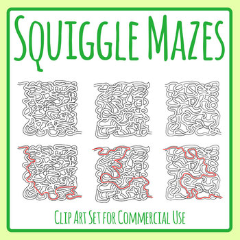 Squiggle Mazes with Solutions Clip Art Set for Commercial Use