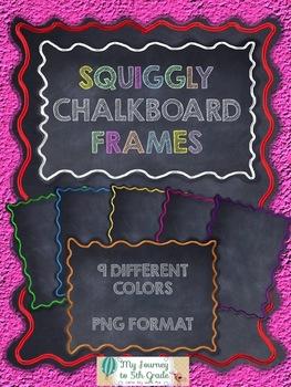 Squiggly Chalkboard Frames~ Clip Art