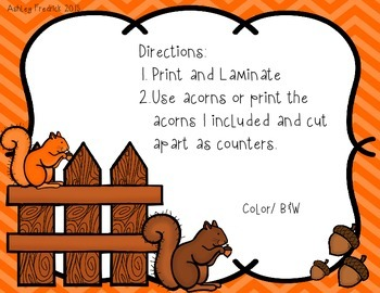 Squirrel Acorn Counting Mats