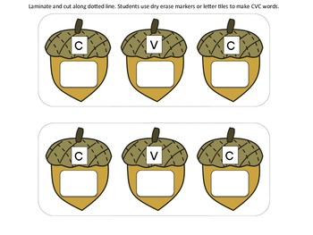 Squirrel CVC Word Building Center - Perfect for Fall!