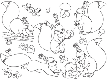 Squirrel Clipart - Digital Vector Squirrel, Forest, Squirrels Clip Art