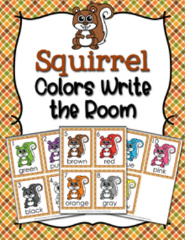 Autumn Squirrel Colors Write the Room Activity