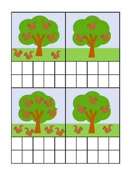 Squirrel Counting Ten Frame Activity Sheet