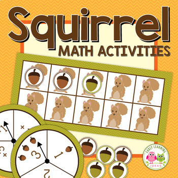 Fall math activities: Squirrel Five and Ten Frame Fun for Preschool and ECE