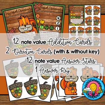 Squirrel Note Value Addition Station Center Sub Tub Fall Thanksgiving