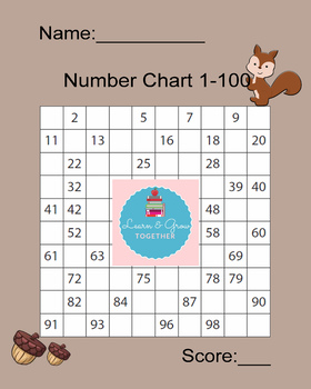 Squirrel Number Chart 1-100 Fill In the Blanks