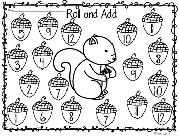 Squirrel Roll and Count/ Roll and Add