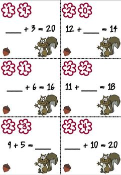 Squirrel Scoot First Grade -SPANISH version- Thanksgiving Math Centers