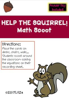 Squirrel Scoot First Grade. Thanksgiving Math Centers