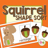 Shape Sorting: Squirrel and Acorn Shape Sort for Fall Pres