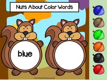 Squirrel Themed Color Word Activities For GOOGLE CLASSROOM