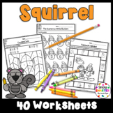 Squirrel Themed Kindergarten Math and Literacy Worksheets and Activities