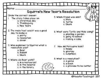 Squirrel's New Year's Resolution - Companion Activities