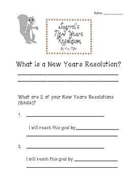 Squirrel's New Years Resolution Activities