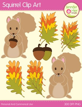 Squirrels Acorns and Fall Leaves Clip Art: Clipart for Fall
