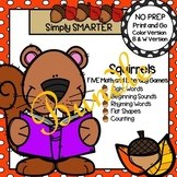 NO PREP Squirrel Themed Math and Literacy Games Bundle