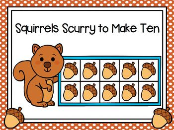 Squirrels Scurry:  LOW PREP Squirrel Themed Ten Frame Race Activity