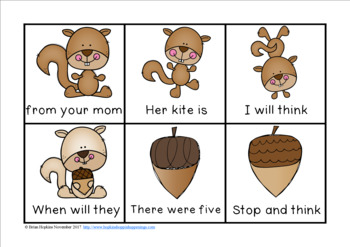 Squirrels Sight Word Fluency Phrases Race