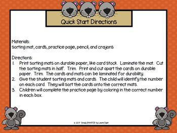 Squirrels Sort Out Numbers:  LOW PREP Squirrel Themed Number Sorting Activity