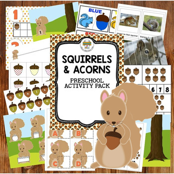 Squirrels activity pack for Pre-K, Preschool and Tots