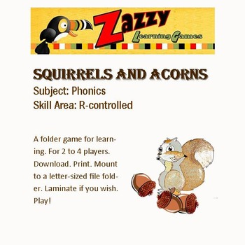 Squirrels and Acorns Folder Game Phonics R-Controlled Review
