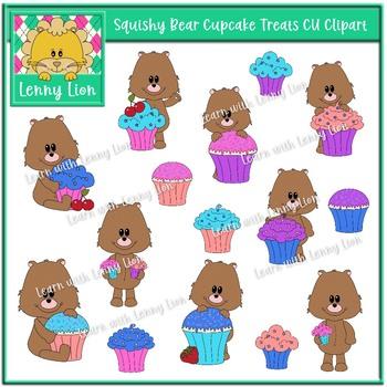 Squishy Bear Cupcake Treats CU Clipart